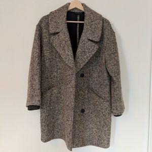 Topshop Grey Boucle Wool Coat